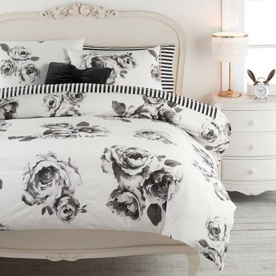 The Emily & Meritt Bed of Roses Duvet Cover + Sham, Black