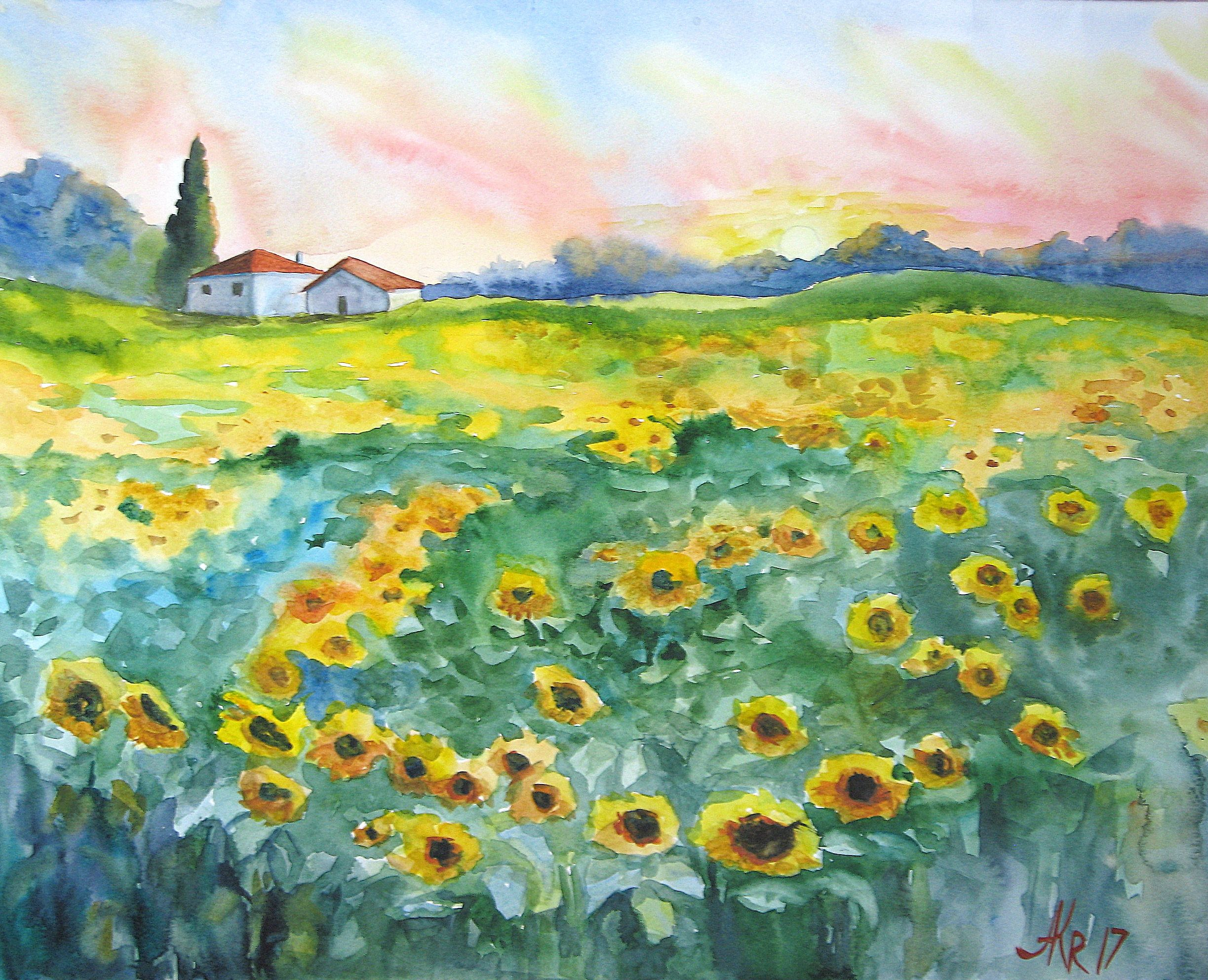 Sunflower Painting Landscape Painting Sunflowers Art Landscape
