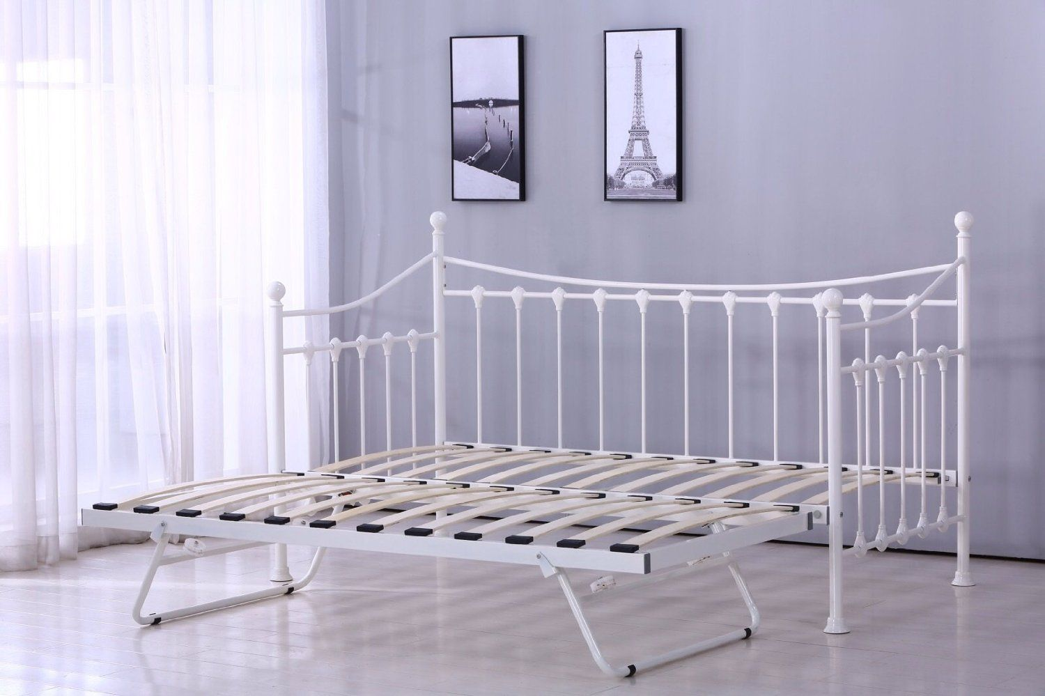 VERSAILLES GLOSSY VANILLA DAYBED WITH UNDERBED TRUNDLE 3FT SINGLE ...