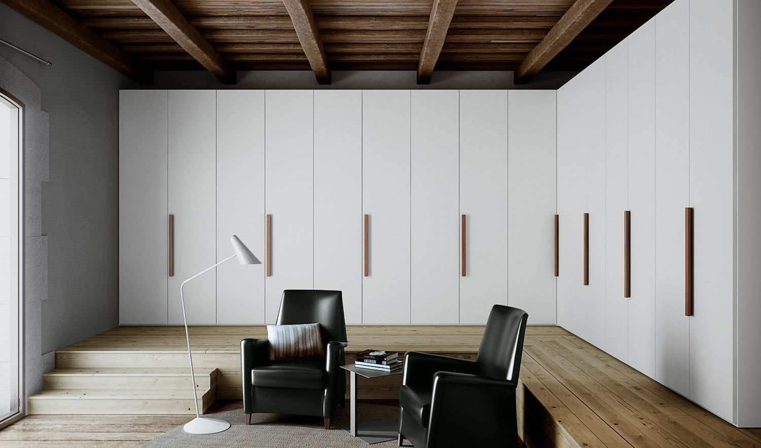 Captivating Gorgeous White Wardrobes With Wooden Simple Wooden Handles By Carré Pictures Gallery