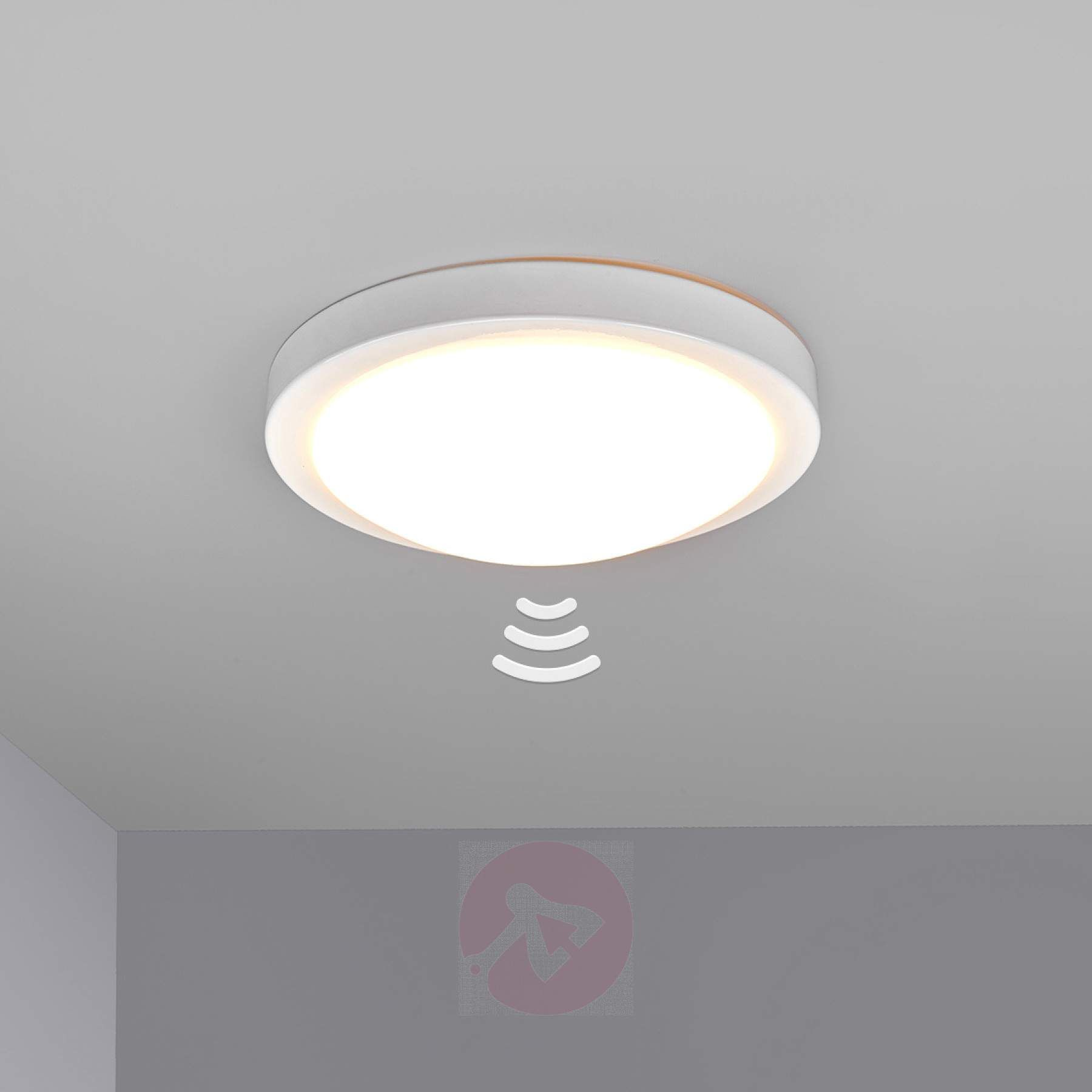 Witte badkamer-plafondlamp Aras met sensor en LED-9950525-01 ...