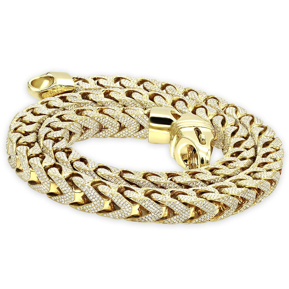 Real Diamond Hip Hop Jewelry This Incredible Solid 10k Gold Fully Iced Out Diamond Franco Chain By L Gold Chains For Men Diamond Chains For Men Chains For Men