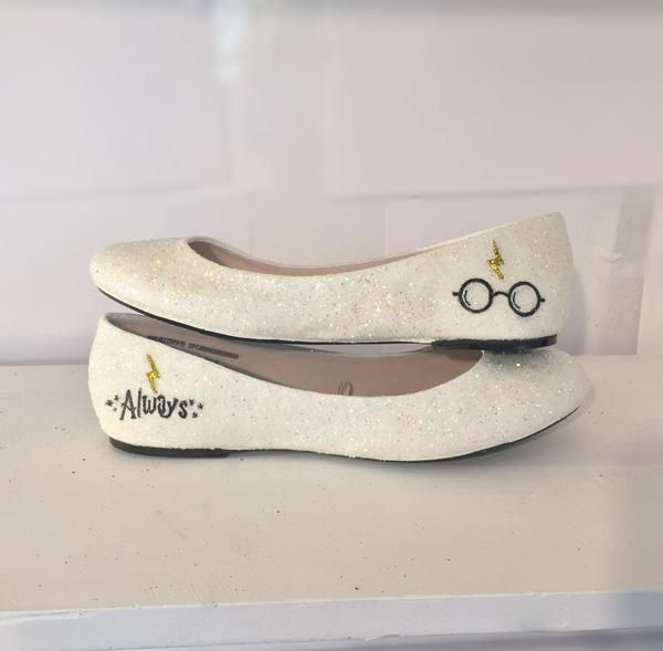 Sparkly Ivory Or White Glitter Ballet Flats Bride Wedding Shoes Harry Potter