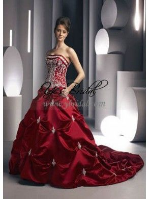 A-line Strapless Chapel Train Satin Red Wedding Dress WAL0202