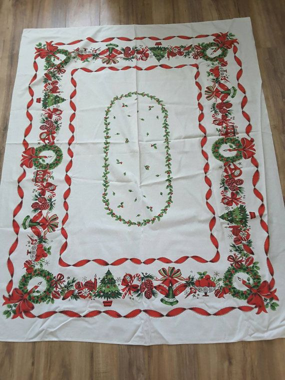Vintage Mid Century Christmas Tablecloth 62x50 By Johniemaes