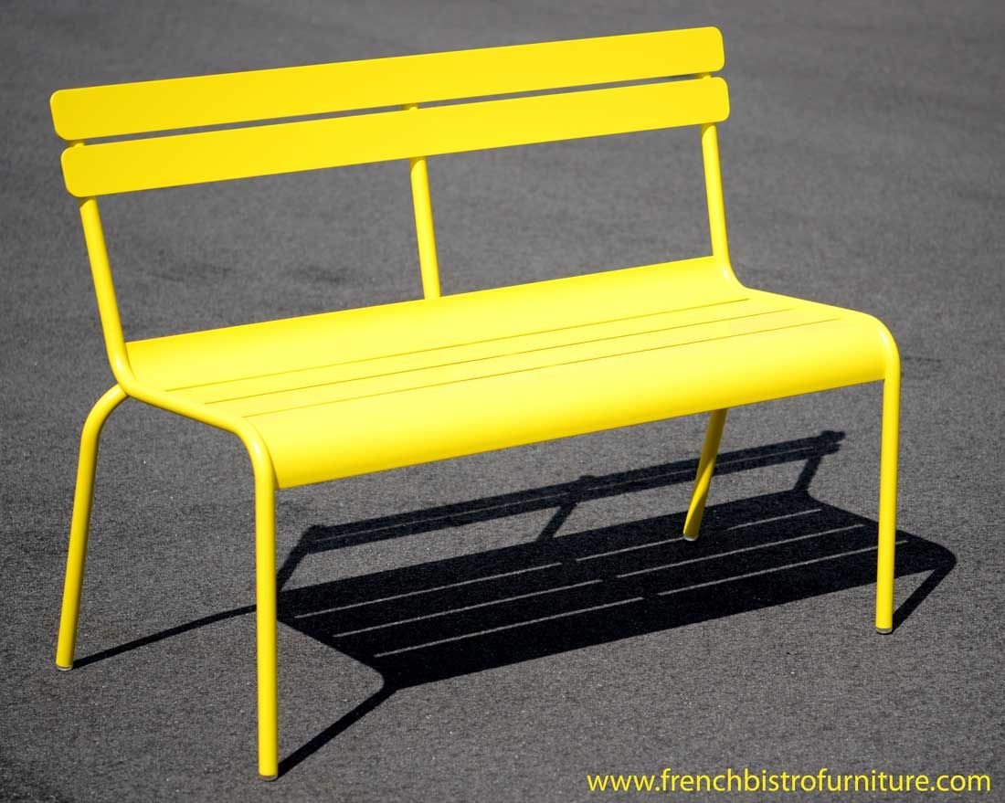 Fermob luxembourg bench with backrest color lemon - Chaise fermob luxembourg ...