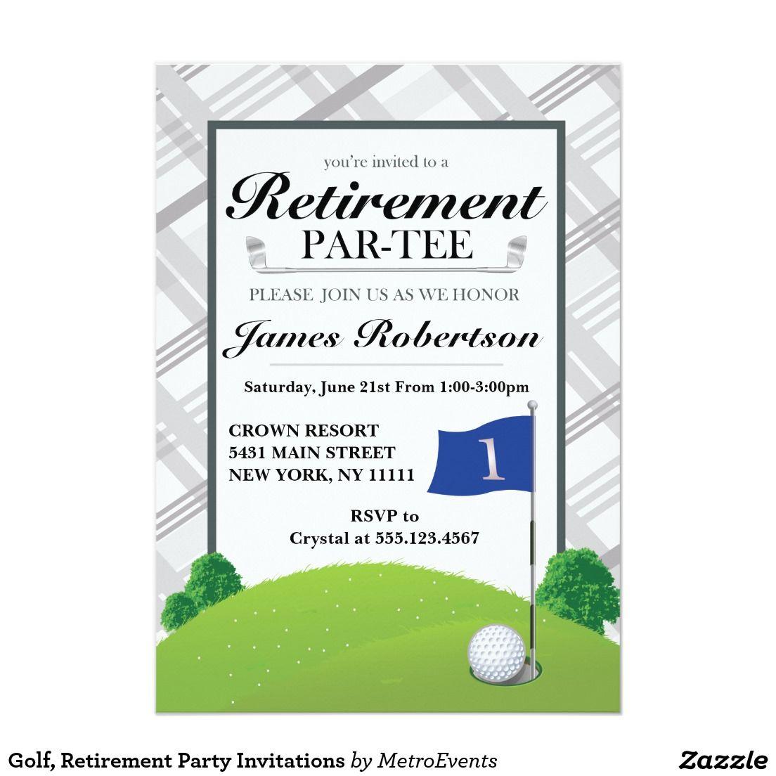 golf retirement party invitations metro. Black Bedroom Furniture Sets. Home Design Ideas