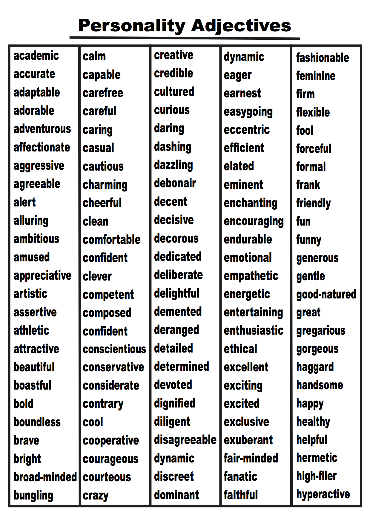 Personality Adjectives Word List