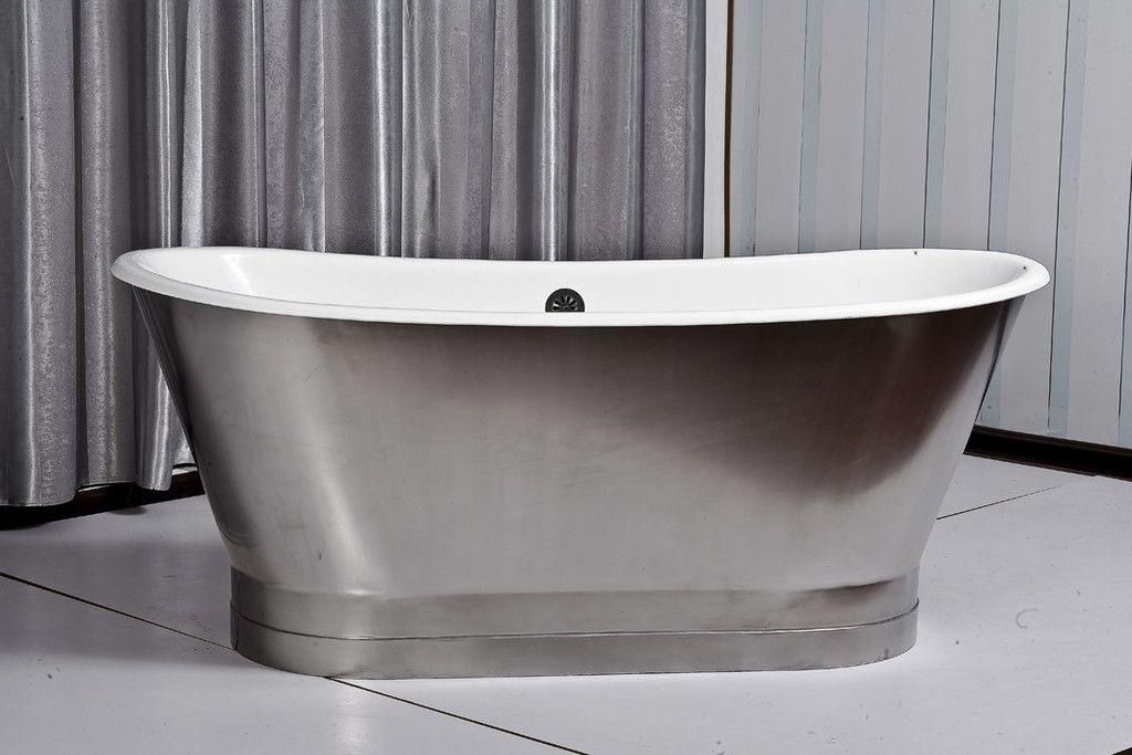 Jameson 67-inch skirted stainless steel cast iron bathtub | Cast ...