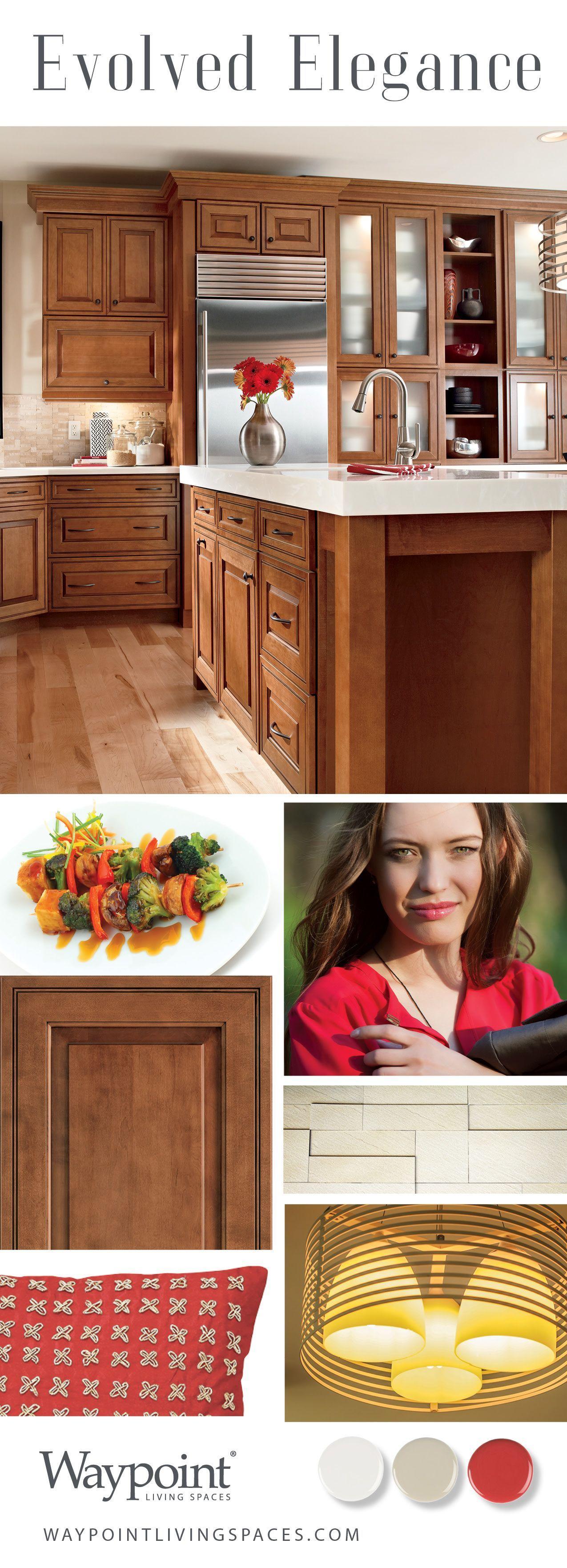 Kitchen cabinets shown with door style maple auburn glaze