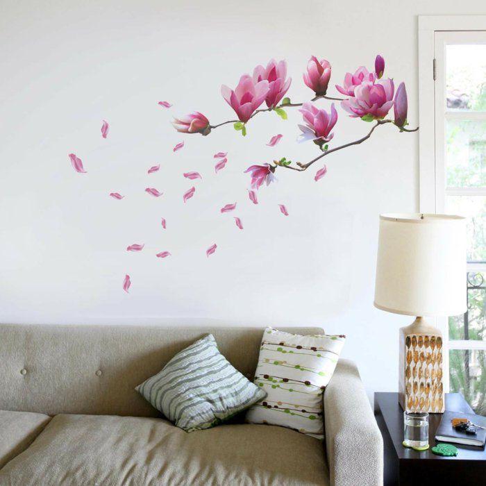 Coole wandtattoos blumen wohnzimmer dekoideen