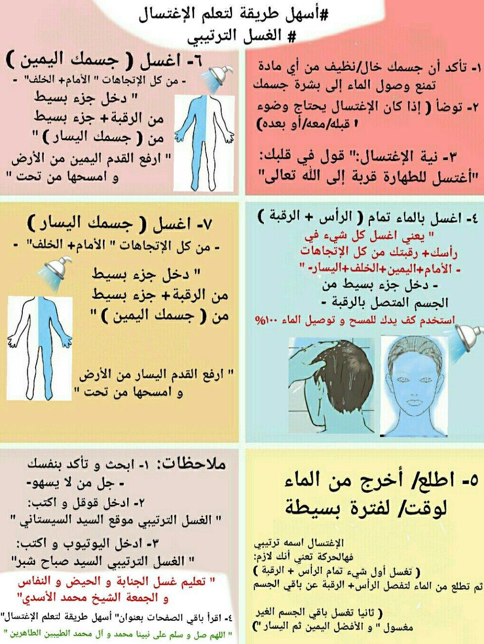أسهل طريقة لتعلم الإغتسال الغسل الترتيبي الدورة الشهرية الجنابة Arabic Quotes Ecards Quotes