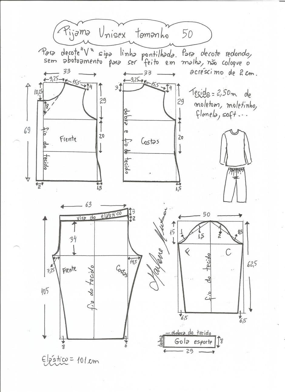 Patrón de Pijama Unisex | confeccion | Pinterest | Confeccion ...