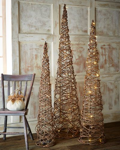H8etk Lighted Grapevine Cone Trees 3 Piece Set