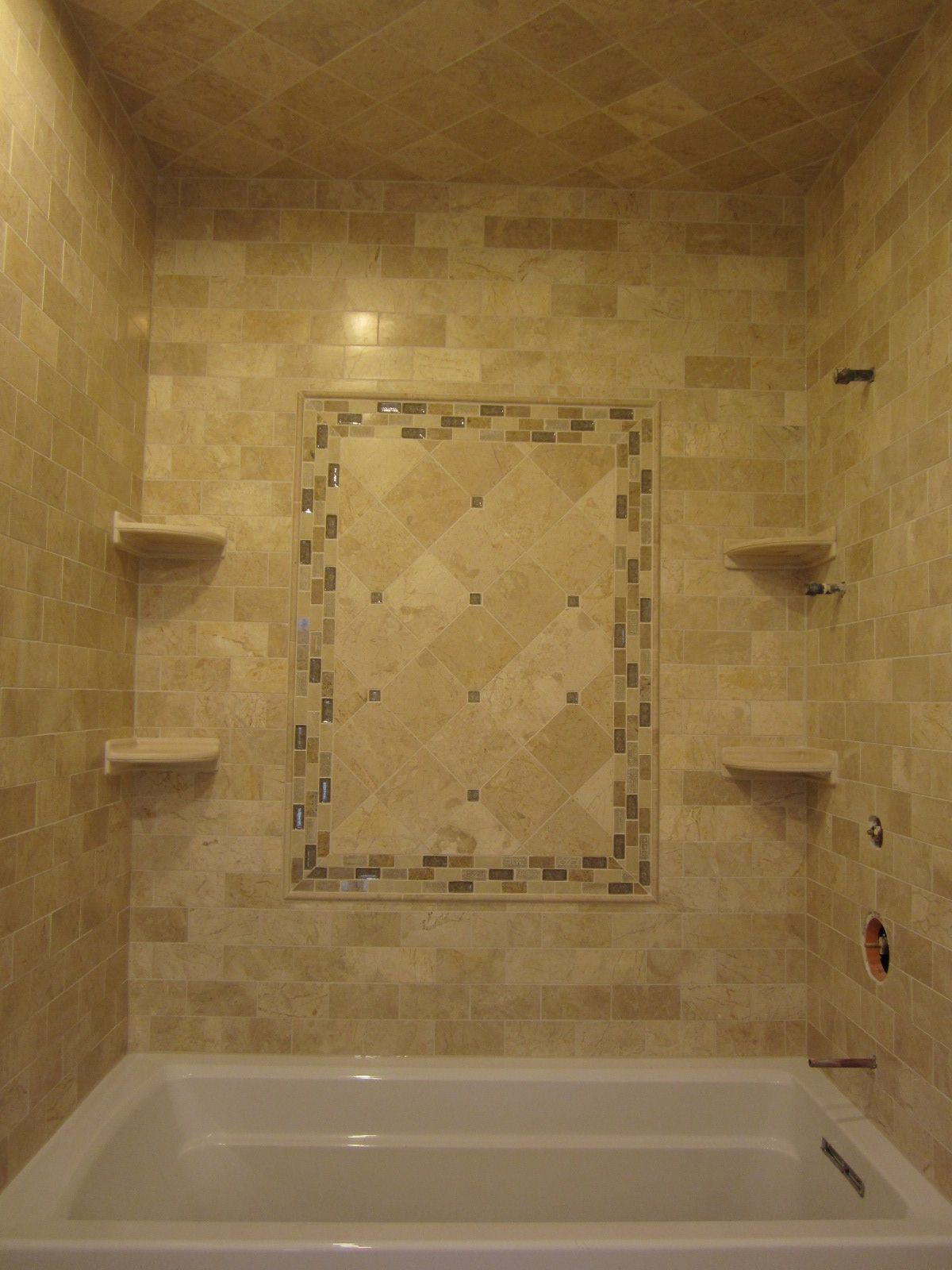 Travertine subway tiles and 6x6 with sonoma tile accent for Bathroom travertine tile designs