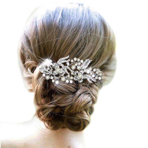 Bridal Silver-Tone Dual Flower Simulated Pearl Clear Austrian Crystal Hair Comb Headpieces N00414-1
