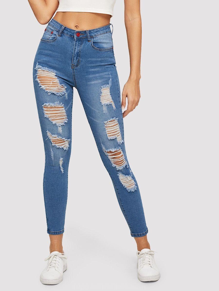 Solido Ripped Jeans Ajustados Shein Sheinside Cute Ripped Jeans Womens Ripped Jeans Women Jeans