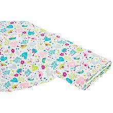 Tissu coton 'printemps', turquoise/rose