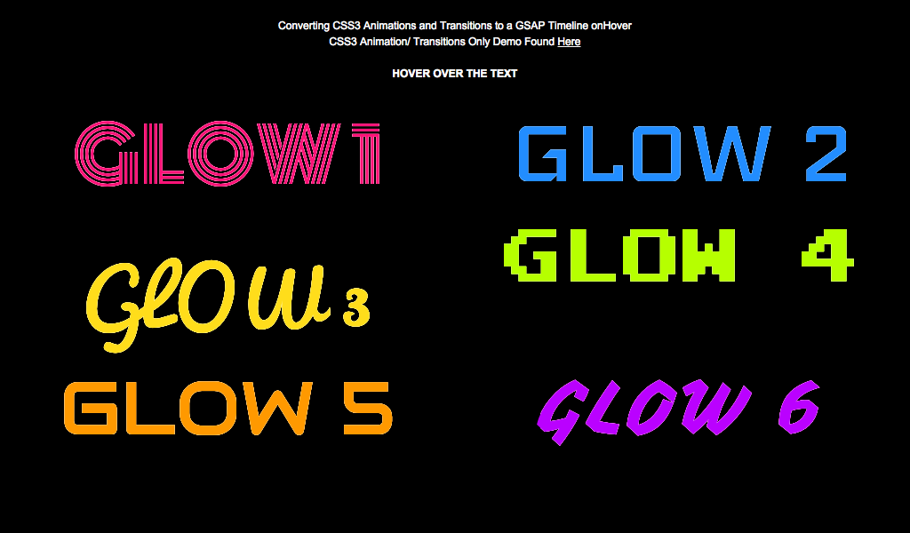 GSAP animated onHover CSS3 text-shadow for Neon Glow effect