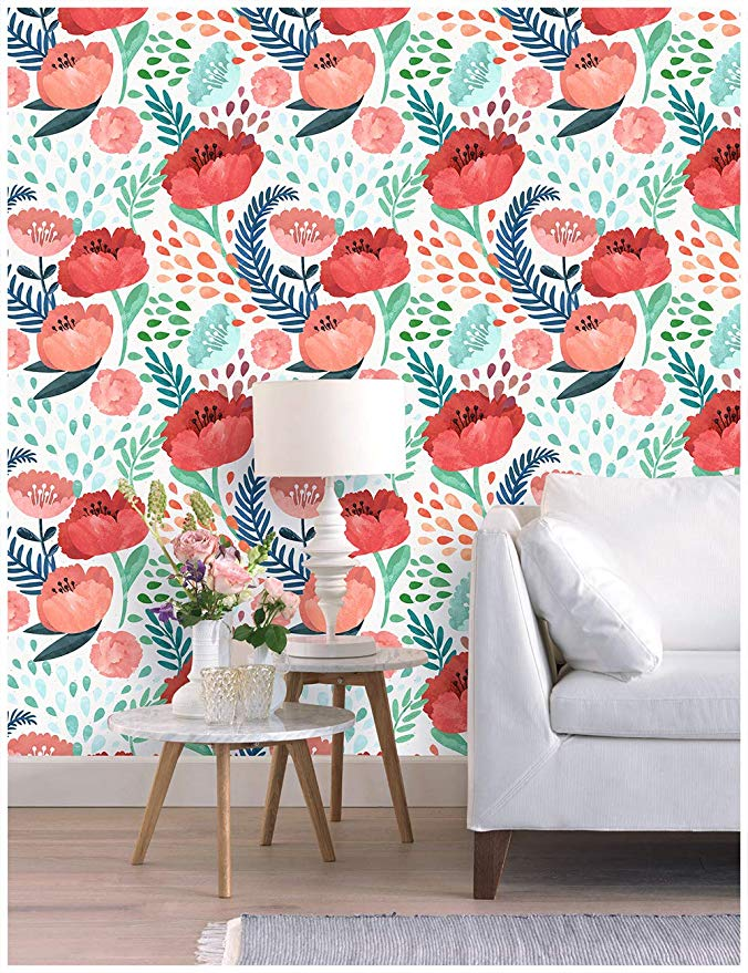Haokhome 93016 Peony Floral Peel And Stick Wallpaper Removable Multi Color Vinyl Self Adhesive Contact Paper Peel And Stick Wallpaper Decor Wall Decor Stickers