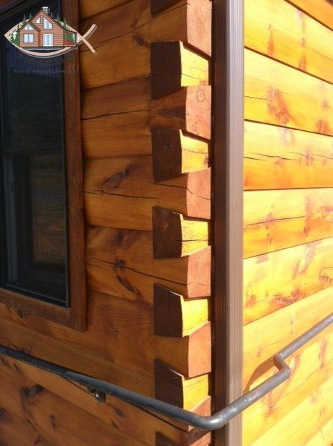6 Thick X 12 Tall Kiln Dried White Pine D Log With Dovetail Corners And Natural Oak Sikkens Log Siding Stain Log Siding Staining Wood Corner House