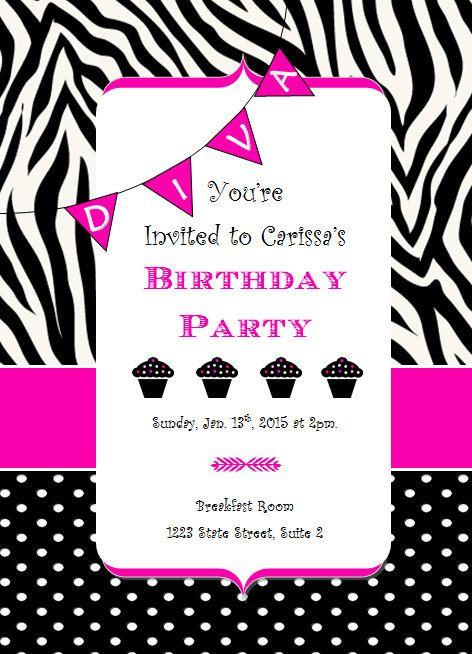 Cute DIVA birthday party invitation So adorable cupcakes zebra – Zebra Print Birthday Invitations