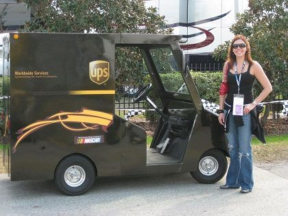 Lady Driver Her Small Ups Truck With Images Women Truck