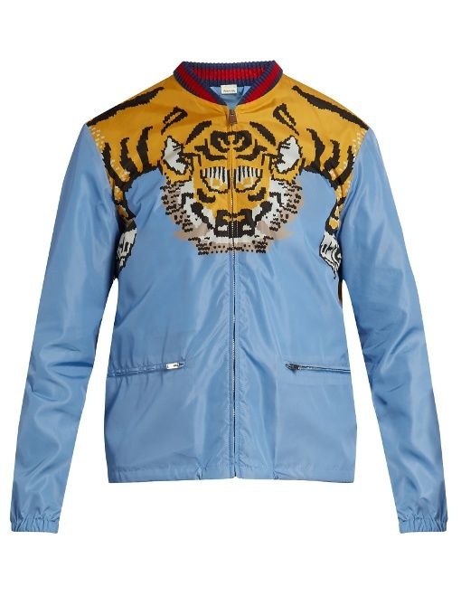 8cbbd0e00ff GUCCI Tiger-Print Shell Bomber Jacket in Blue