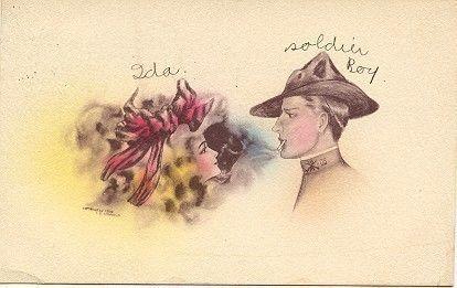 """"""" Soldier Boy & Ida """" Vintage 1909 Post Card. Karodens Vintage Post Cards."""