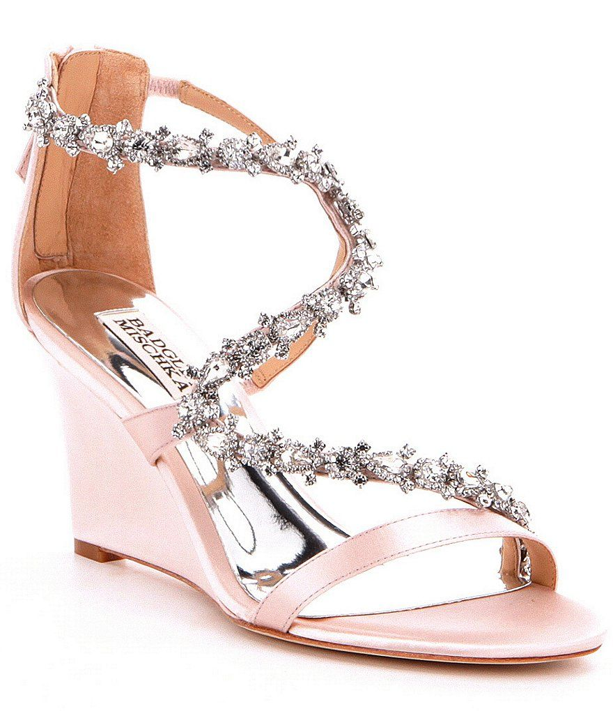 4874aeea5e28 Light Pink Badgley Mischka Bennet Stone-Embellished Satin Wedge Sandals