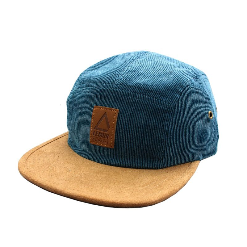 e278d4a54106f yellow 5 Panel Wholesale custom Corduroy Hat leather patch wholesale  corduroy 5 panel camper hat