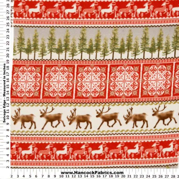 Anti-Pill Reindeer Forest Cream and Red Fleece Fabric