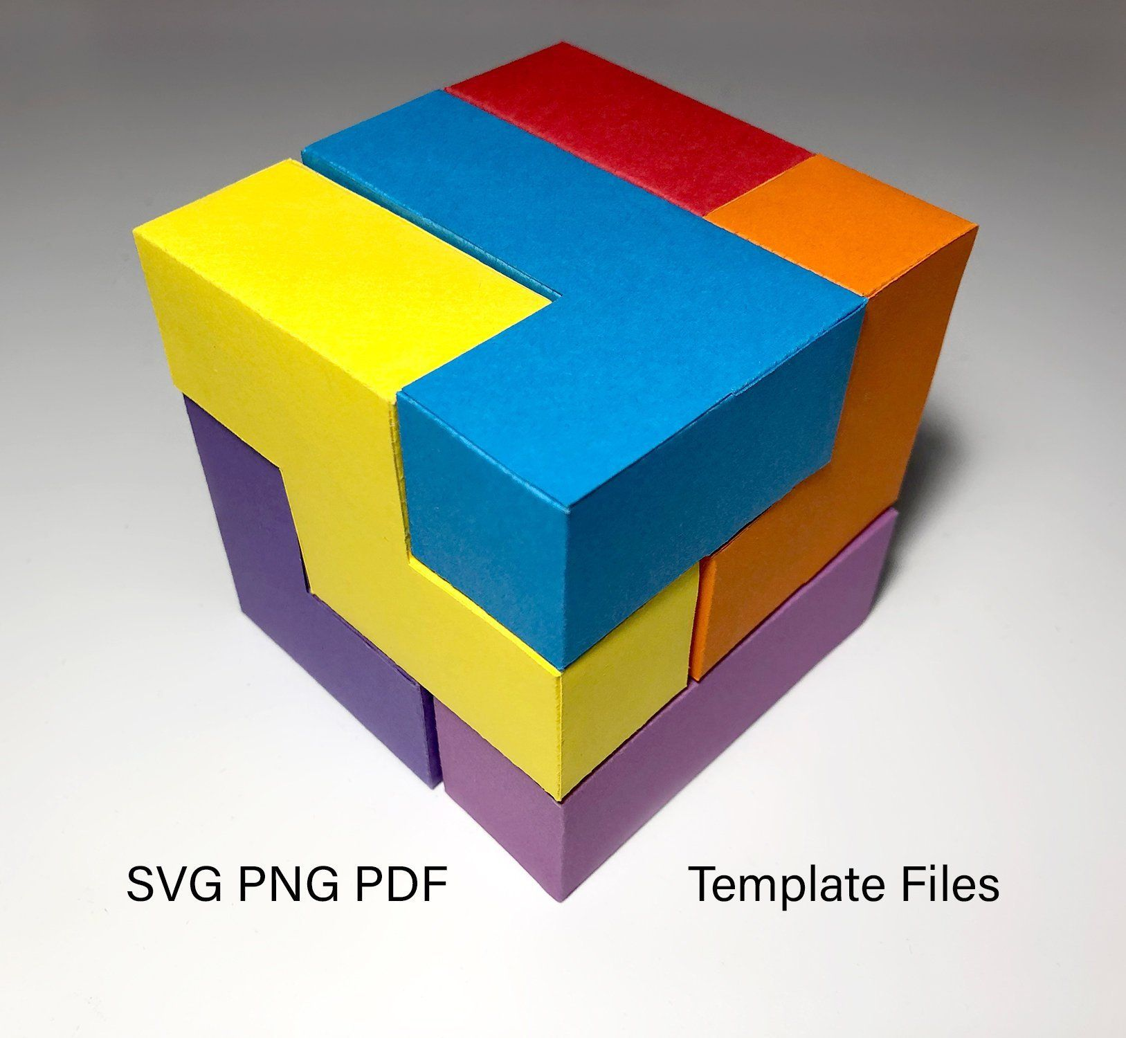 Papercraft Template Cube Puzzle Png Pdf Svg For Silhouette