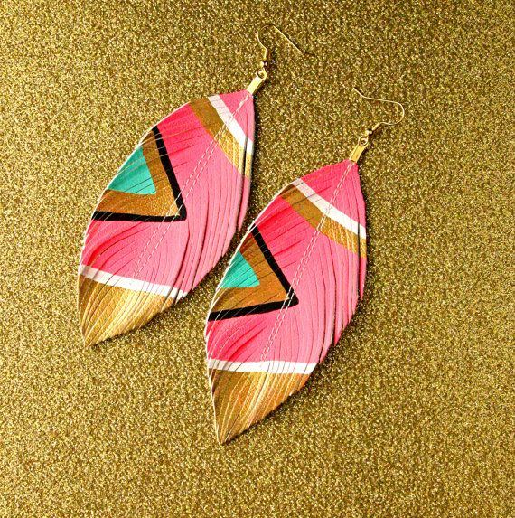 Neon Aztec - Electric Pink - Faux Leather Feather Earrings