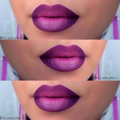 This purple ombre lip how-to gives step by step ...