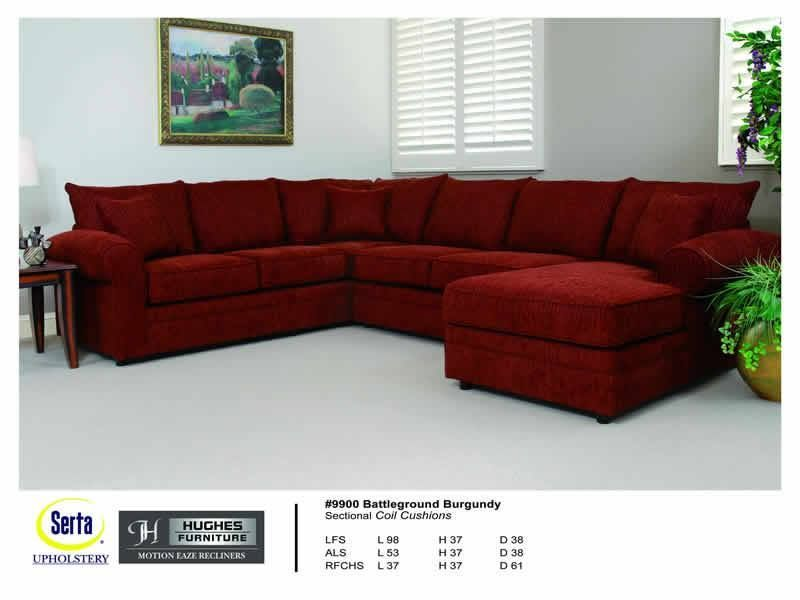 New Burgundy 3pc Sectional In A Chenille Fabric Made By Serta