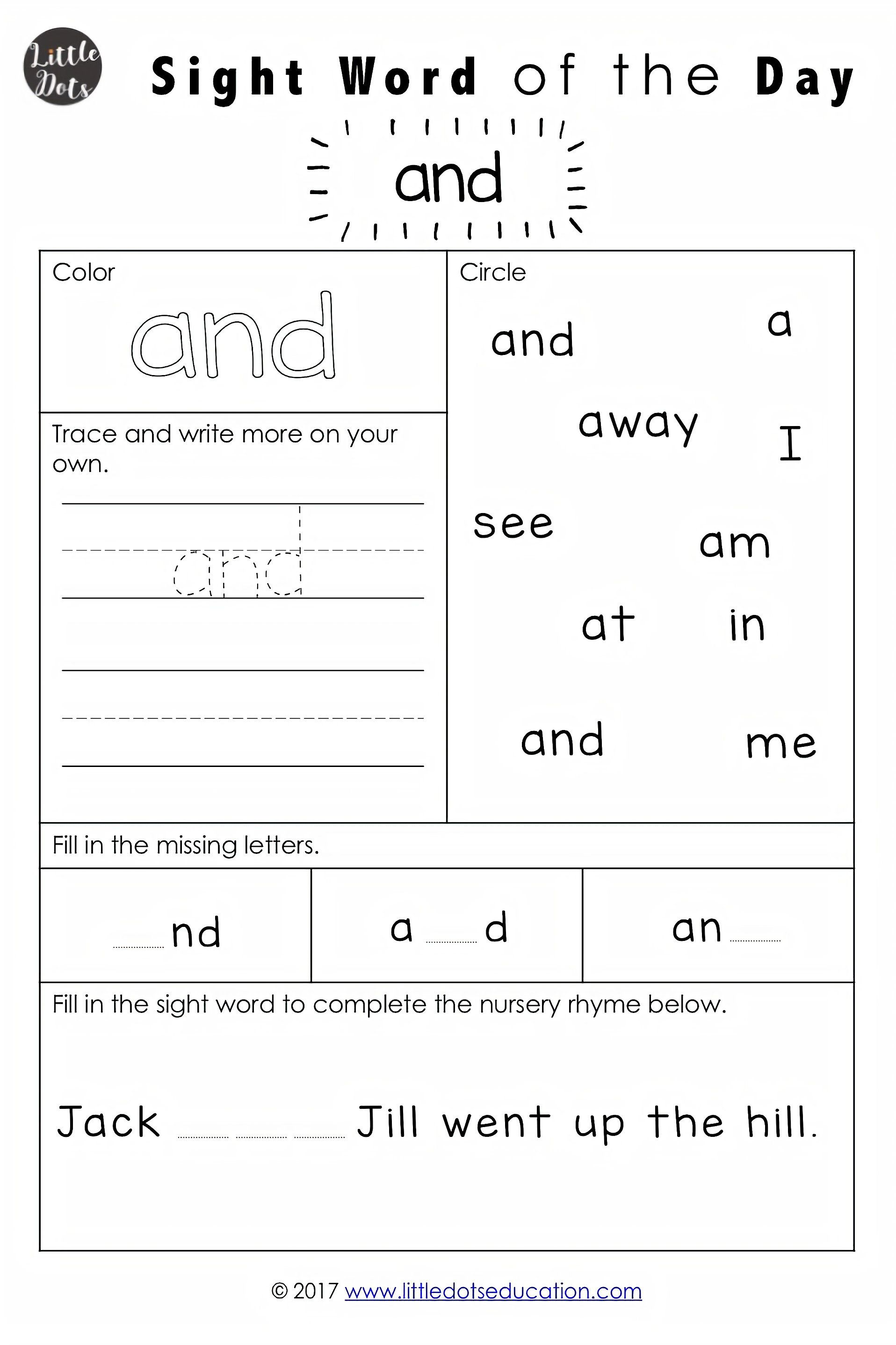 Dolch Pre Primer Sight Words Activities