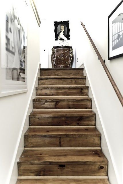 wooden  stairs and white wall