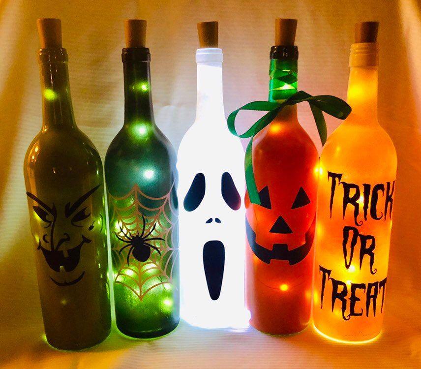 Halloween Decor Halloween Lights Wine Bottle Lights Lighted Etsy Halloween Wine Bottles Lighted Wine Bottles Christmas Wine Bottles