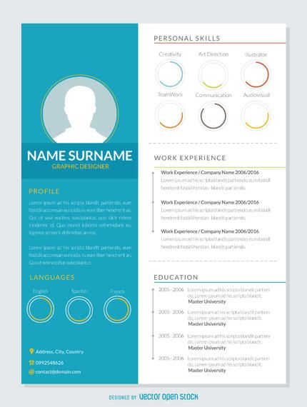 CV template in a very visual and graphic style Resumes  CV - cv vs resume