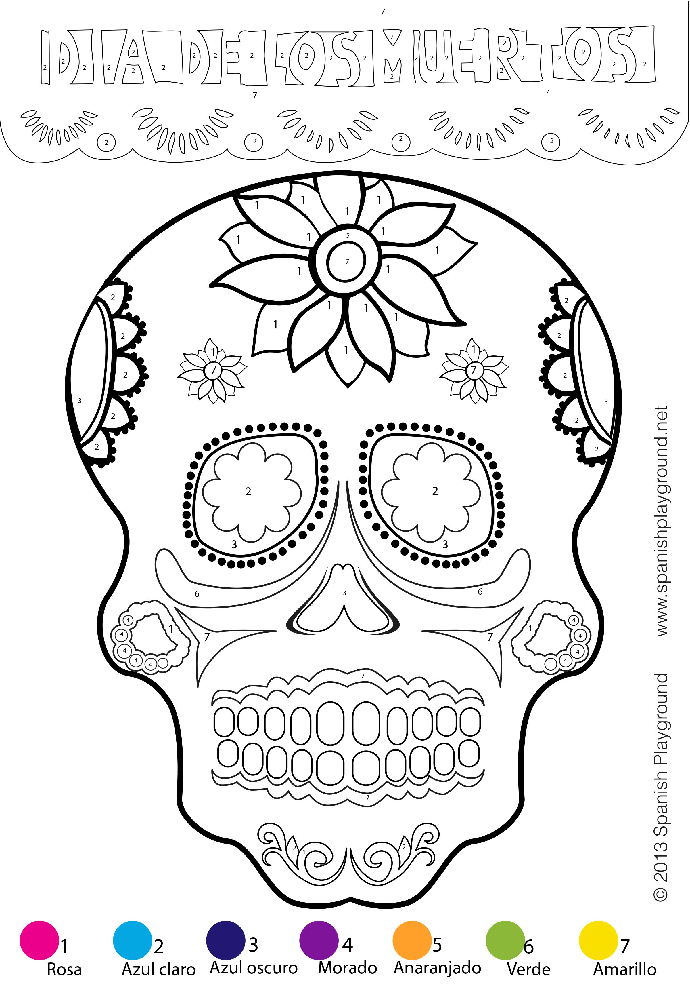 Color-by-number calavera | Día de los Muertos in Preschool ...