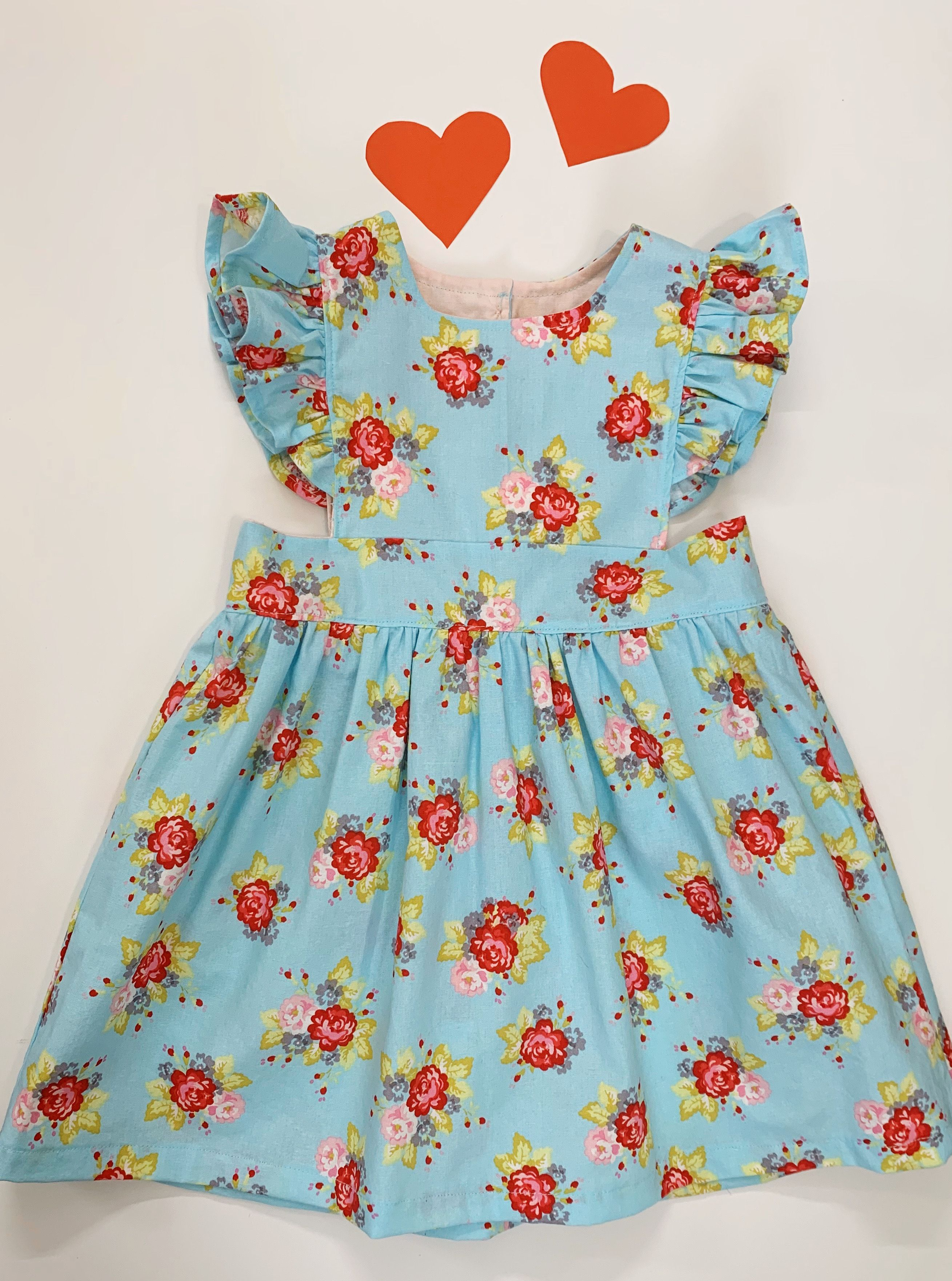 Classic vintage style Floral pink pinafore dress MADE TO ORDER