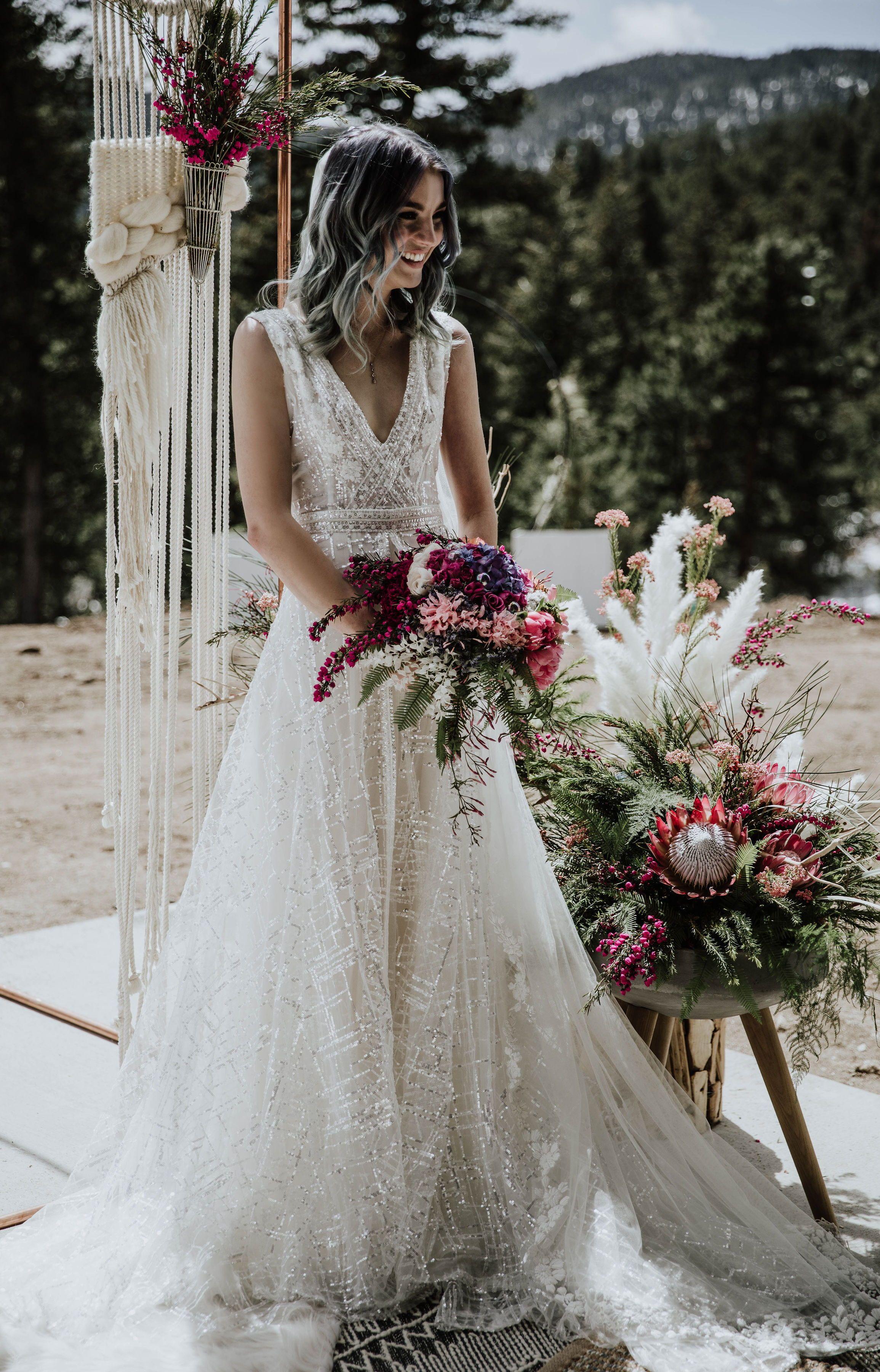 Bubbly Colorful Mountain Bridal Rish Bridal Modern Sparkly Boho Wedding Dress Wedding Dress Cap Sleeves Wedding Dresses Whimsical Mountain Wedding Dress