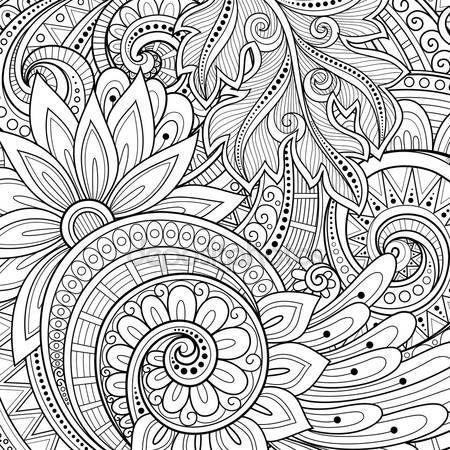 Descargar - Abstracta fondo Floral monocromática — Ilustración de ...