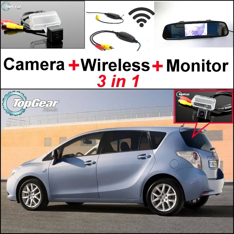 3 In1 Special Camera Wireless Receiver Mirror Monitor Easy Diy Back Up Parking System For Toyota Verso Ez Toyota Verso Car Camera Car Electronics