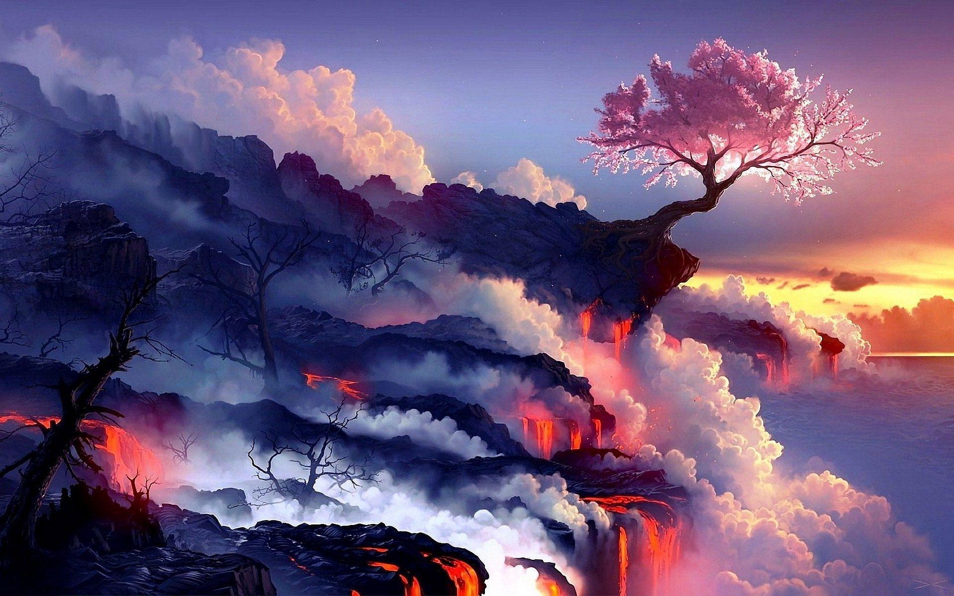 Desktop Wallpaper 4k Ultra Hd In 2020 Anime Scenery Wallpaper Scenery Wallpaper Fantasy Landscape