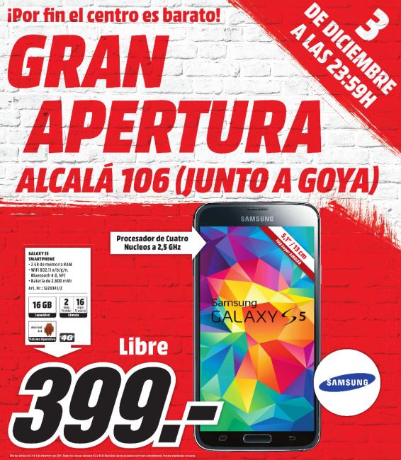El Samsung Galaxy S5 libre, solo esta noche, por 399 euros en MediaMarkt
