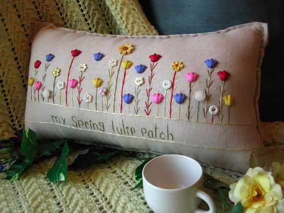 My Spring Tulip Patch Pillow Cottage Style by PillowCottage
