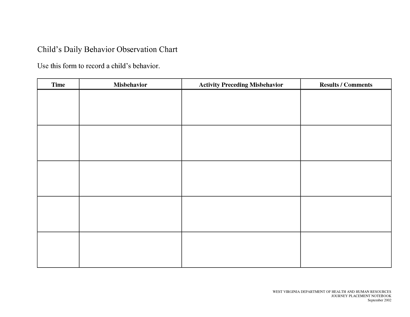 Printable Daily Behavior Chart Template