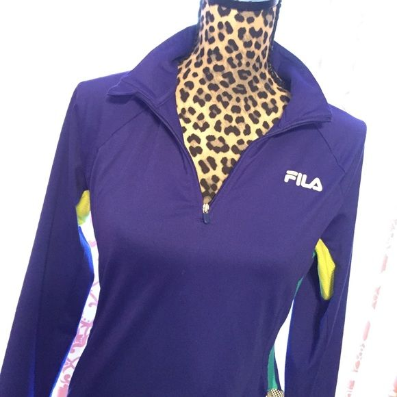 Fila Sport Quarter Zip Running Pullover Worn twice. Looks perfect.  Deep blue with yellow and turquoise insets. Thumb holes for warmth. So comfy!  Not too heavy or light poly spandex. Fila Tops